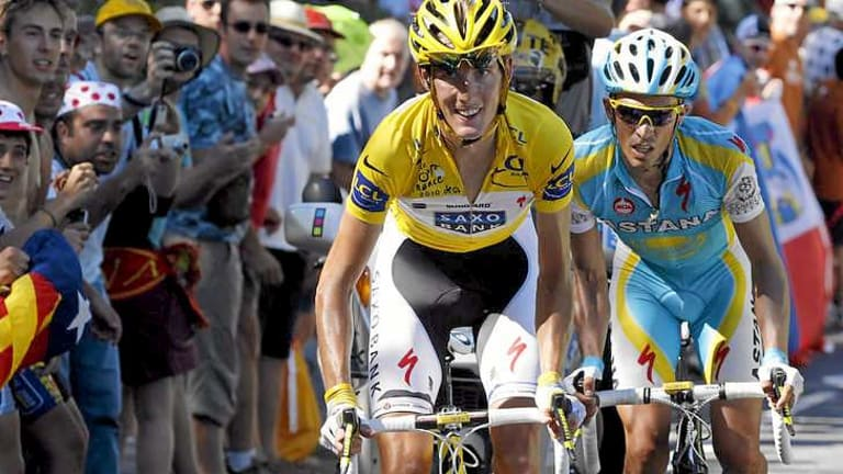 Andy Schleck wearing the leader's yellow jersey in the 2010 Tour de France.