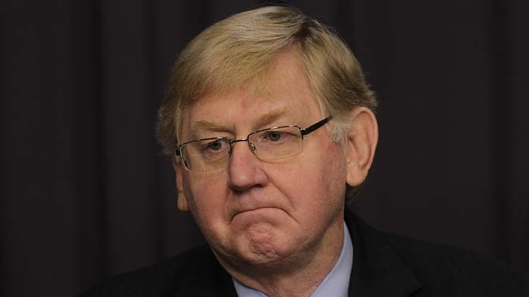 Martin Ferguson resigns from the ministry during a press conference in Canberra.