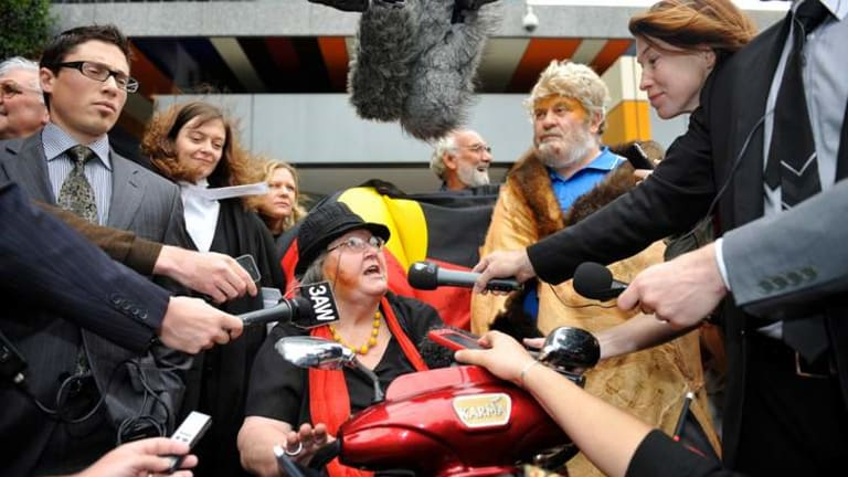 Activist Pat Eatock speaks to media after the Federal Court found in 2011 that columnist Andrew Bolt had breached the Racial Discrimination Act.