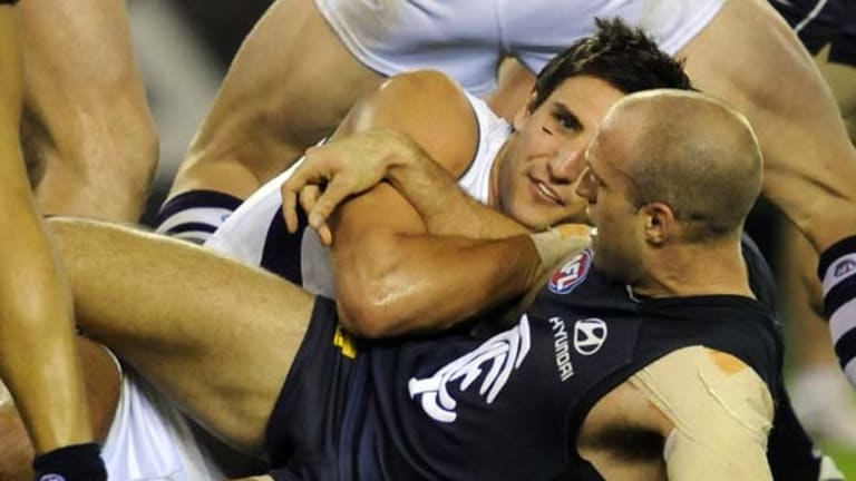 Matthew Pavlich sports a cut cheek after clashing with Chris Judd. Did this incident have anything to do with the decision to charge Steven Baker?