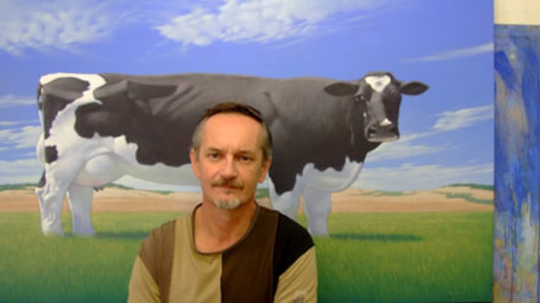 Andrew Baines in his studio, with <i>Commercially Constructed Cow</i>.