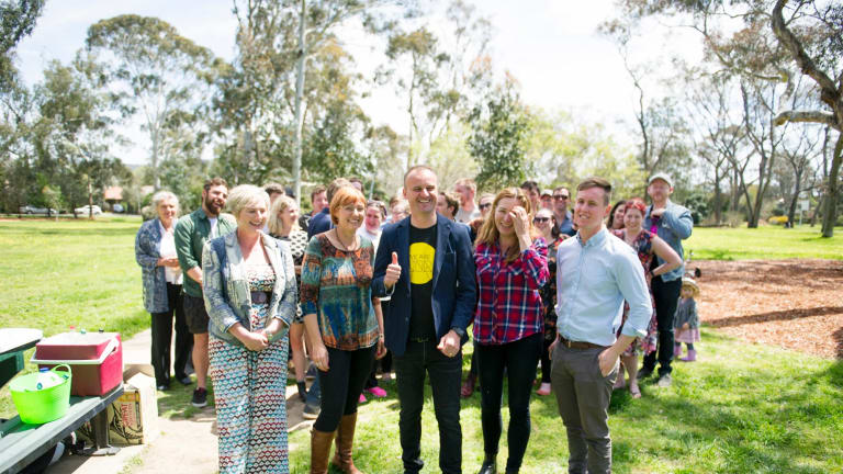 Canberra Labor Party volunteers, candidates and Chief Minister Andrew Barr celebrate their election win at Corroborree Park in Ainslie.