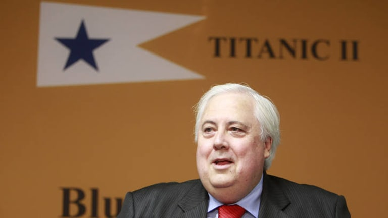 Clive Palmer at the Titanic II announcement.