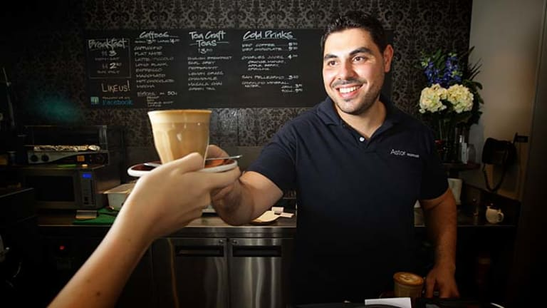 Shot of growth: Nicholas Vasili, manager at Astor Espresso in Glebe.