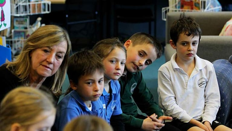 I think, therefore ... pupils from years 2 and 3 take part in philosophy class at Bondi Public School with their teacher Kate Kennedy White.