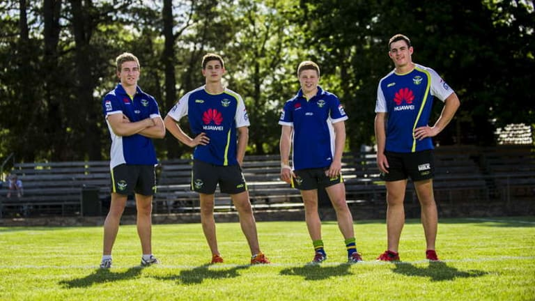 Junior Raiders, (L-R) Lachlan Croker (nephew of Jason Croker), Lachlan Lewis (nephew of Wally Lewis), Zac Woolford (son of Simon Woolford), and Morgan Boyle (son of David Boyle).