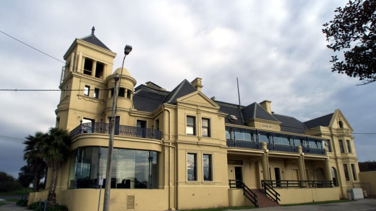 The intricate facade of the Mentone Hotel.