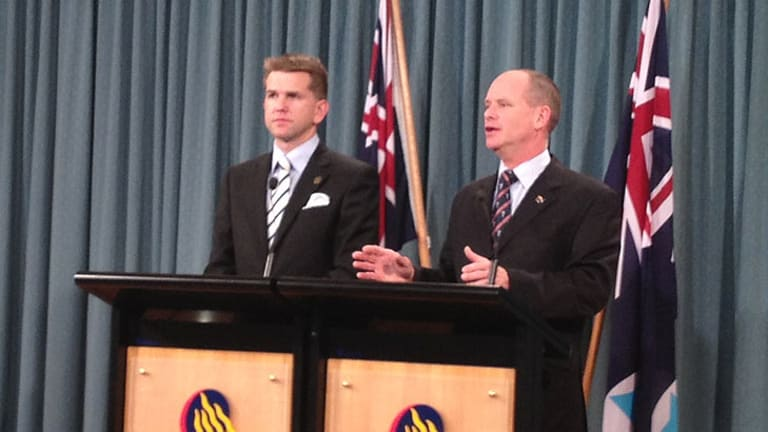 Queensland Attorney-General Jarrod Bleijie and Premier Campbell Newman announcing that the state's same-sex civil unions laws will not be completely repealed, but rather amended in line with other states.