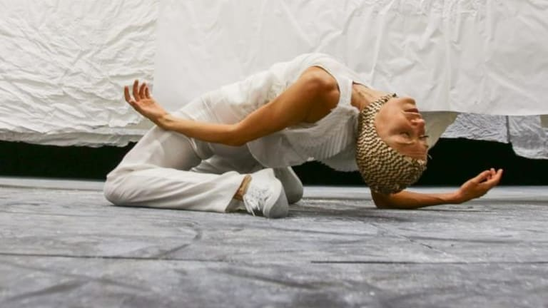 A dancer at Mira Calix's <i>Inside There Falls</i> at Carriageworks.