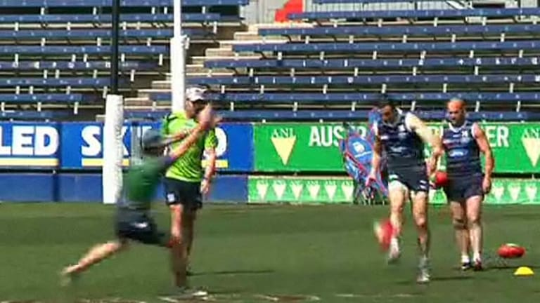 Matthew Scarlett looks fit at Geelong training.