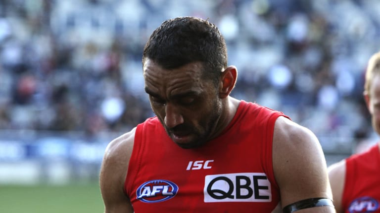 Swans captain Adam Goodes sheds a tear as he walks off the ground after his team's win over the Cats.