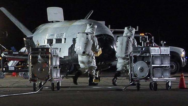 The X-37B Orbital Test Vehicle at Vandenberg Air Force Base in California.