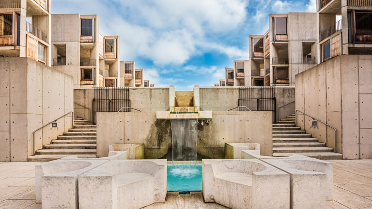 The Salk Institute in California. The building's design was inspired by the architecture of the Italian town of Assisi.