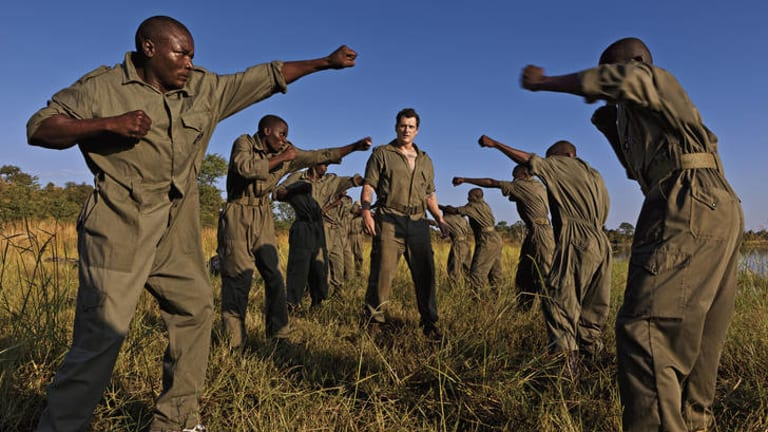Eco warriors … Damien Mander puts International Anti-Poaching Foundation rangers through training at his group's Victoria Falls base in Zimbabwe.
