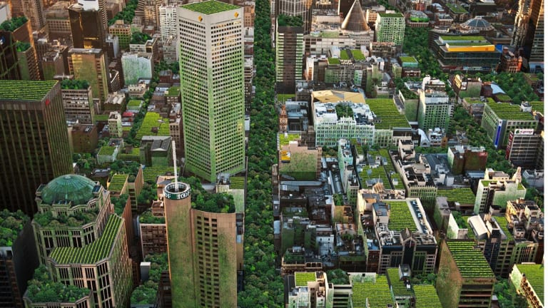 An artist's impression of Melbourne covered in rooftop gardens and roadway parks.