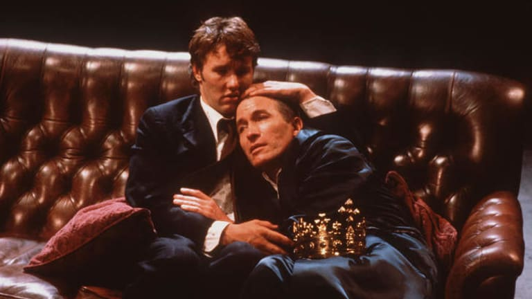 Bard work: Edgerton as Prince Hal (left) in Bell Shakespeare's production of <i>Henry IV</i>, with Richard Piper as King Henry.