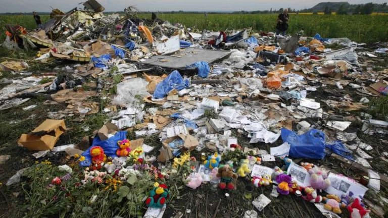 A shrine at the crash site of  MH17  in eastern Ukraine.