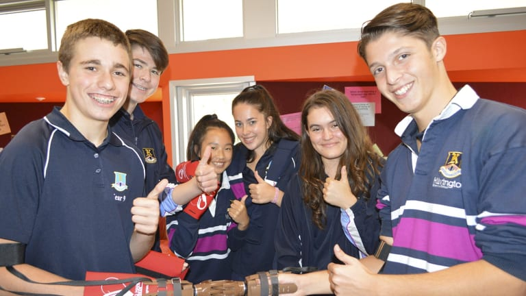 Year 9 challenge students built prosthetic arms that will be distributed to landmine victims by the Australian organisation Helping Hands Program.