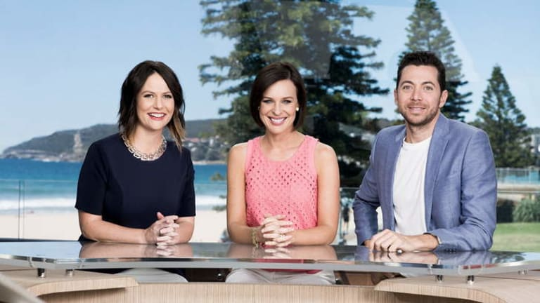 Beached: Ten's Wake Up hosts (from right) James Mathison, Natarsha Belling and Natasha Exelby.