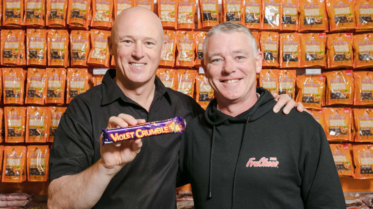 """Robern Menz CEO Phil Sims, left, with Richard Sims, said: """"As the new gatekeeper of Violet Crumble, we are aware of the responsibility that comes along with owning a brand so highly regarded in the Australian market place."""""""