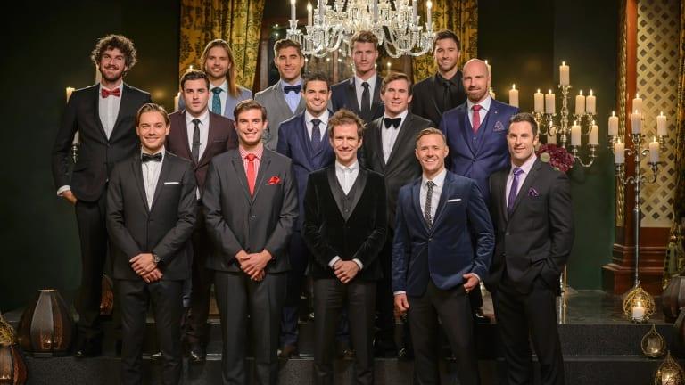 The Bachelorette contestants, 2015: (top row) Shane, Drew, Tony, Richie, Michael, (middle row) Davey, Luke, Dave, Alex, (bottom row) David, Kayne, Will, Kieren and Sasha.