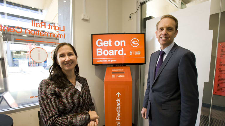 Capital Metro director Emma Thomas with Minister for Capital Metro Simon Corbell.