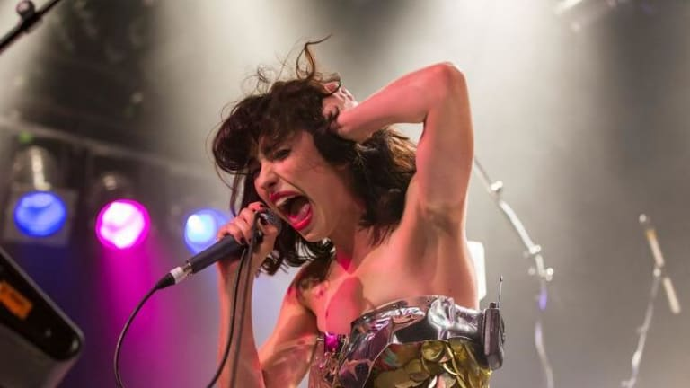 Toy diva: Kimbra (pictured in Auckland) was sometimes drowned out during her Metro show in Sydney, despite her powerhouse voice.