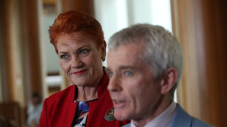 Malcolm Roberts with Pauline Hanson after the High Court ruled him ineligible to have been elected to the Senate.