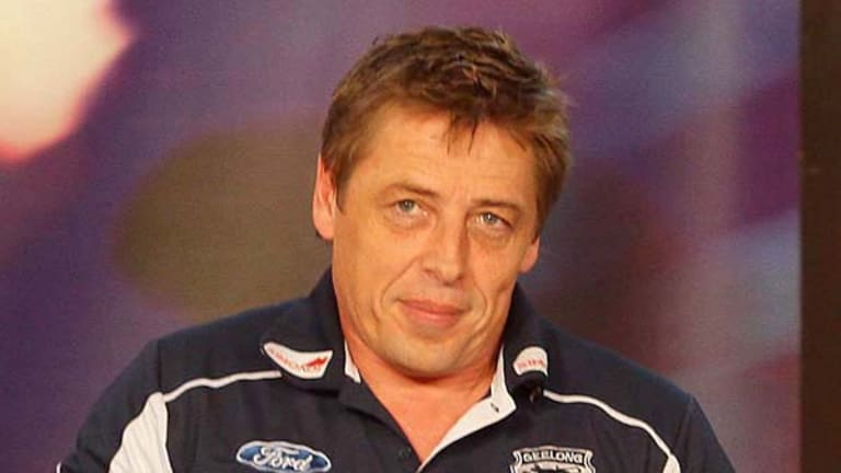 Geelong coach Mark Thompson on <i>Before the Game</i> last night.