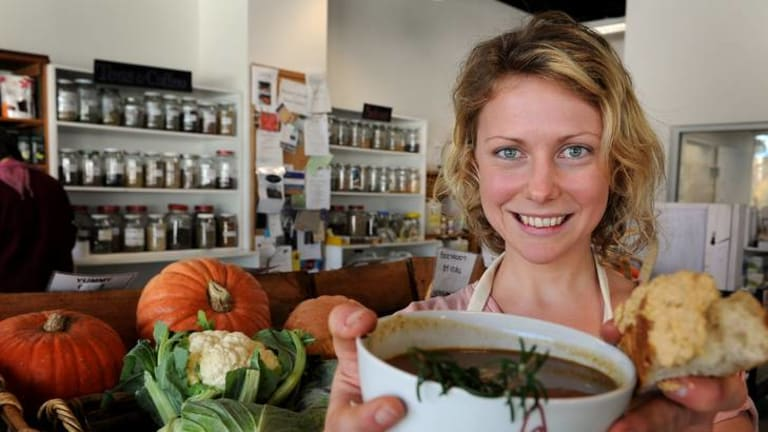 Sarah Norgrove from the ANU Food Co-op with her sweet-potato,sunflower seed, leek and roasted sweet-corn soup.
