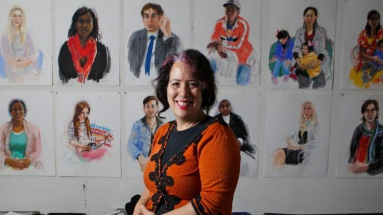 Faces of humanity: Wendy Sharpe is working on a series of portraits of refugees and asylum seekers.