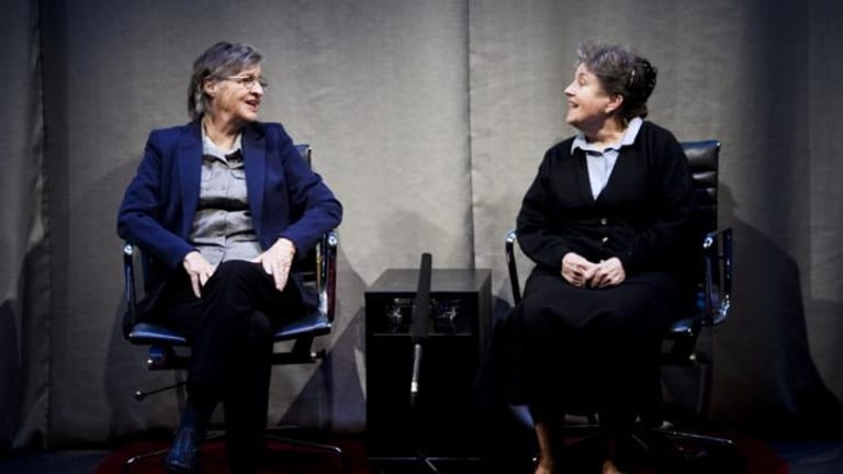 Theatre legends up to the challenge: Sandra Bates and Lorraine Bayly in <i>The Shoe-Horn Sonata</i>.