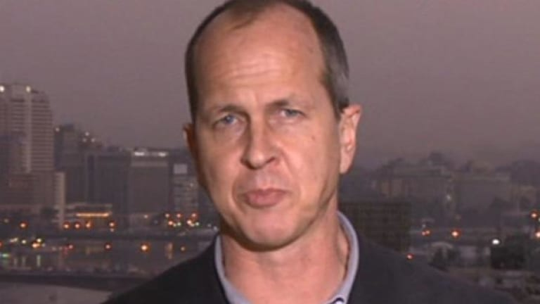 A screen grab from a BBC report by Peter Greste, an Al-Jazeera journalist who was arrested for aiding the Muslim Brotherhood in Egypt.