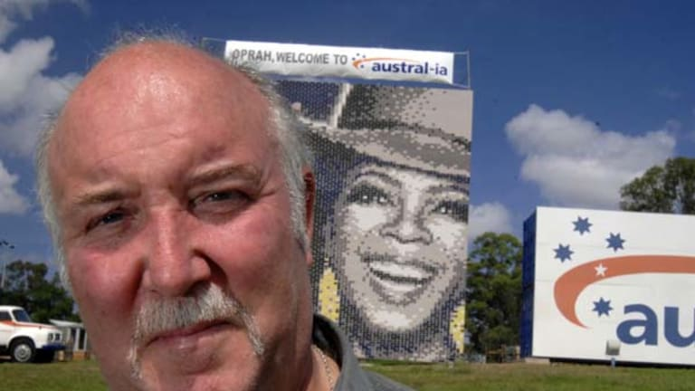 She's behiiind you ... already ubiquitous before she got to Australia, Oprah is now (wait for it) u-brick-uitous. At least, she is at Horsley Park, where John Langan, pictured, and two other bricklayers from Austral bricks spent six days building an enormous 100-square-metre mural.