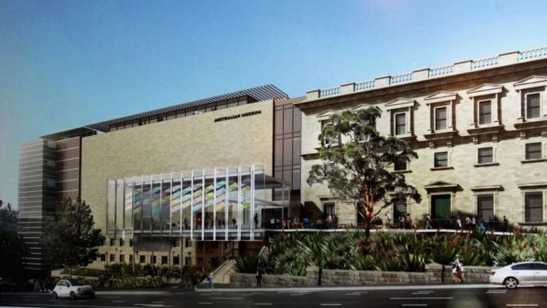 An artist's impression of the Australian Museum's new contemporary glass entrance, the Crystal Hall.