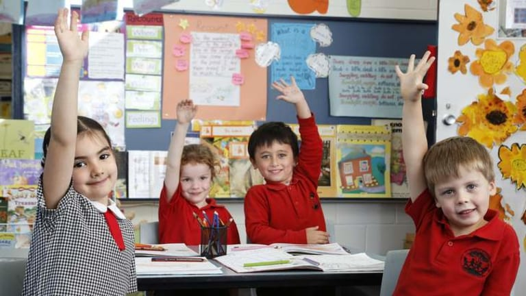 Mount Rogers Primary School kindergarten students, from left, Afryna Yarbakhsh, Ava Bessey, Liam Hamilton and Gus Murdock in class. The school has seen an increase in enrolments due to a number of initiatives to boost student numbers.