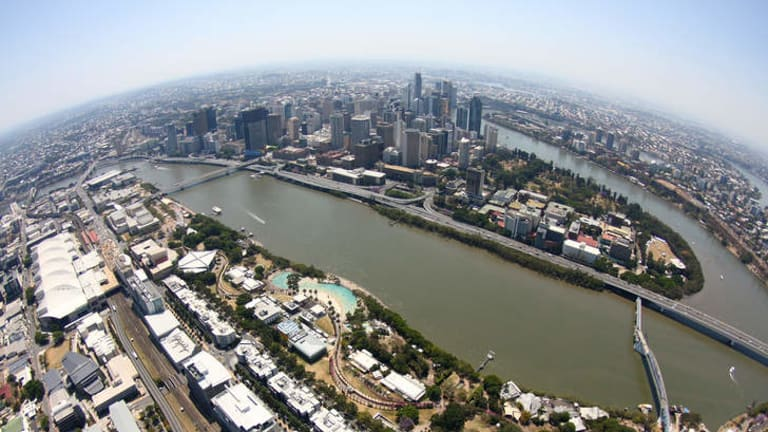 An aerial view of Brisbane.