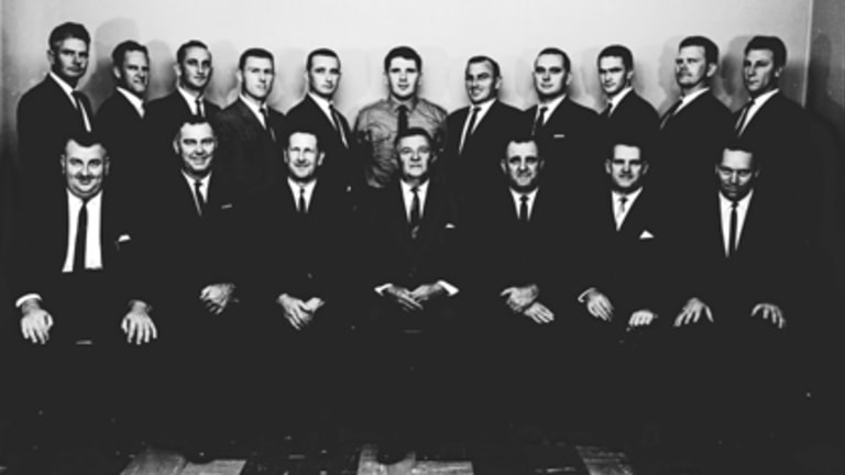 Small and secretive ... Queensland Police's Special Branch members pictured with Police Commissioner Frank Bischof (front row, middle) in 1966.