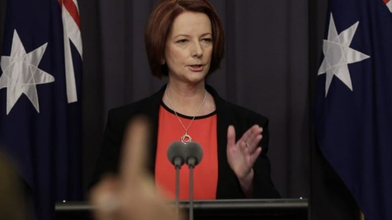 Former prime minister Julia Gillard was facing questions about the Australian Workers Union affair when she met Hillary Clinton.