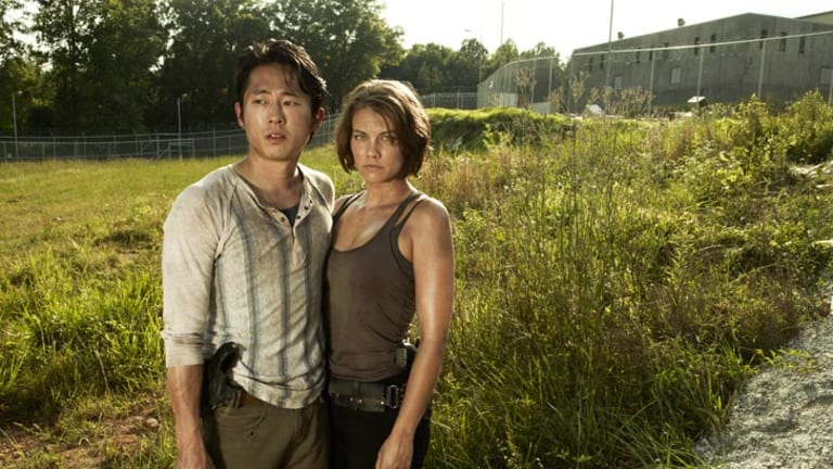 Walking Dead's Glenn (Steven Yeun) and Maggie (Lauren Cohan).