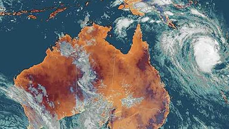 A satellite image of the cyclone off the coast of Queensland last night.