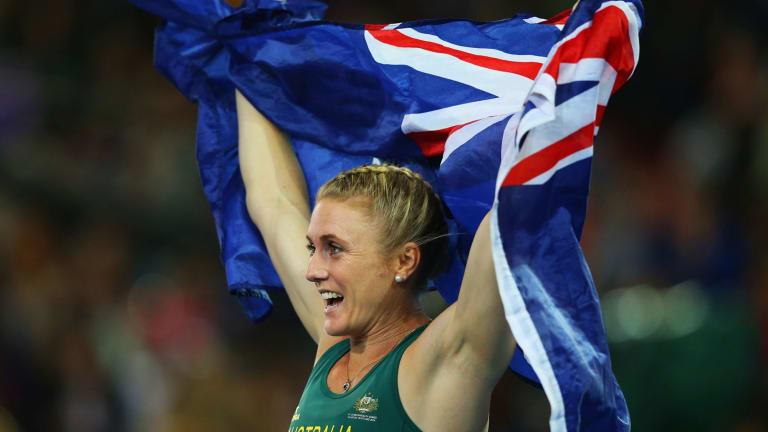 Gold Coast-based Sally Pearson celebrates winning gold.