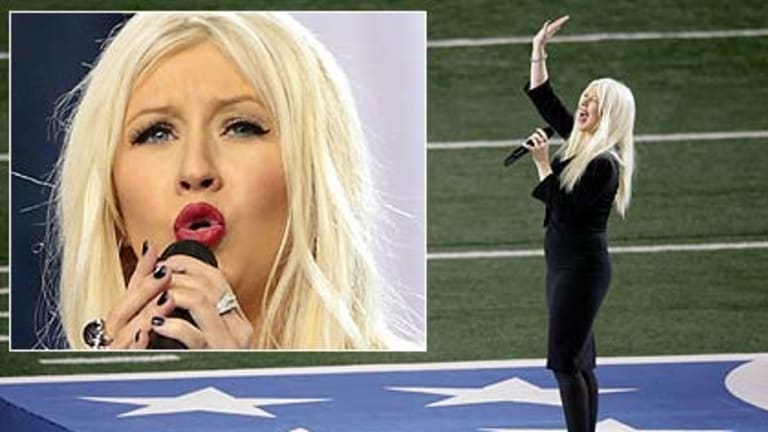Super Bowl slip up ... Christina Aguilera performs.