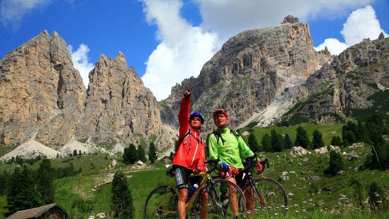 Biking around the Dolomites.