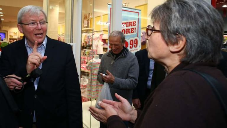 Prime Minister Kevin Rudd in Westfield Penrith on Friday.
