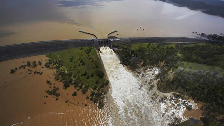 Wivenhoe Dam during the January 2011 flood.