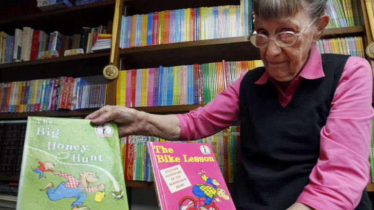 Jan Berenstain with her first two books featuring the Berenstain Bears, which have become children's classics.