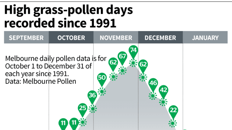 About 40 per cent of the high pollen days since 1991 have been recorded in December.