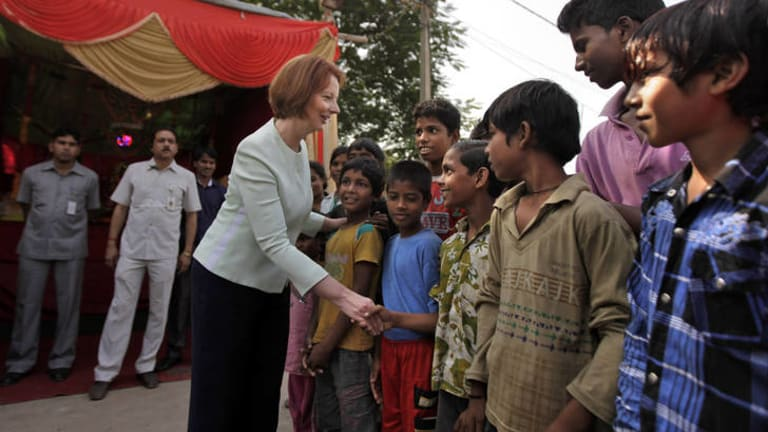 PM Julia Gillard visits Asha, which helps educate slum children.