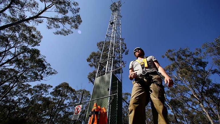 Monash University researcher Ian McHugh at a flux tower near Nagambie.